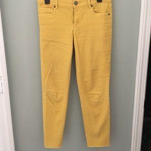 LOFT ankle length yellow pants w/ raw hem